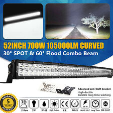 Curved 52inch 700W CREE LED Light Bar Flood Spot Combo Work Offroad Driving 7D+