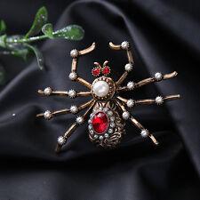Broche Doré Araignée Insect Rouge Perle Blanc Gravure Original XZ2