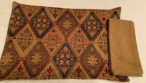 Place mats & Napkins Set Of 6 Tan Brown Red Beads /Table Linens