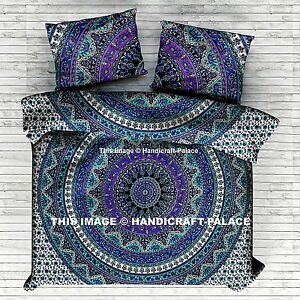 Indian Cotton Queen Bedding Coverlet Mandala Duvet Doona Cover With Pillow Cover