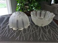 "2 Matching Vintage Glass Light Lamp Shades Globes Frosted 2"" fitter"