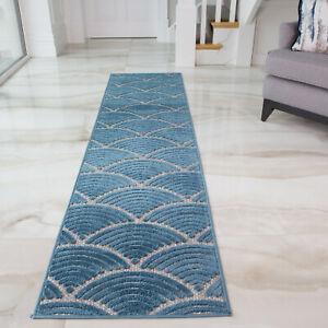 Blue Teal Outdoor Washable Spill Proof Durable Textured Soft Runner Home Rugs