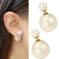 1Pair Women's Stud White Faux Pearl Front Back Earrings Studs Big Ball Earring