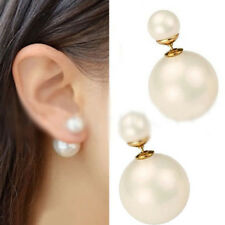 Women White Faux Pearl Double Sided Ball Ear Stud Chic Front Back Earring Gift