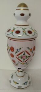 Bohemian Czech White Enameled Overlay Cut to Cranberry Candy Dish Compote w/ Lid
