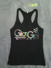 √ NEW! 8 10 GIO GOI black 'Compton' top designer vest cotton exercise fitted gym