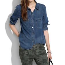 Madewell Womens Blouse Denim Boyshirt Blue Jean Wash Button Long Sleeve Top S