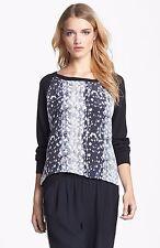 Joie Malena Mixed Media Sweater in Snow Leopard Caviar silk & cashmere  small
