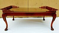 Beautiful Rare Wood Carved Coffee Table with Glass Top (Local Pick up Only)