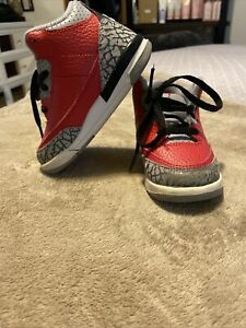 Nike Air Jordan 3 Retro Red White Cement Grey CQ0489-600 Size 7c Used