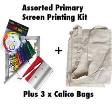 Primary Screen Printing Kit Fabric Screen Print Kit + 3 Calico Bags Permaset Cmp