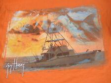 GUY HARVEY 2 Sided Bolsillo Camiseta Pesca Barco Sunset-Orange Medio T-SHIRT-F2