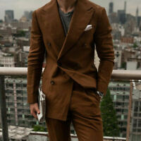 Men's Brown Lining Suits Formal Double-breasted Peak Lapel Wedding Party Tuxedos