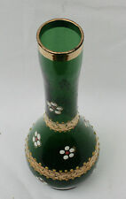 Vintage 1930s Bohemian Czech Emerald Green Bottle Vase Enamel & Gilt Decoration
