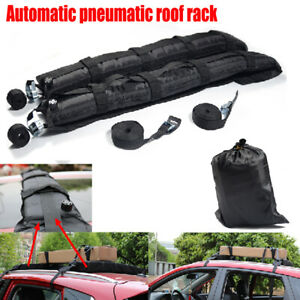 2PCS Car Roof Rack Soft Self Inflatable Luggage Carrier w/ Rope Black Universal