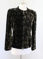 Giorgio Armani Black Silk Velvet Burnout Polka Dot Ruffle Zip Blazer Jacket 44