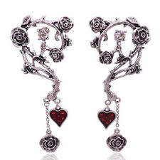 RED HEARTS & ROSES ENTWINED THORNS DROP EARRINGS GOTHIC STEAM PUNK ROCK ALCHEMY