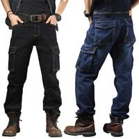Men Jeans Denim Pant Casual Cargo Combat Work Pants Tactical Trousers Pockets 36