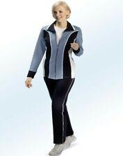 Damen Trainingsanzug Freizeitanzug Sportanzug mit Kontrasteinsätzen Rauchblau