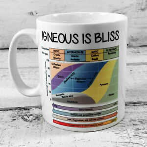 NEW IGNEOUS IS BLISS MUG 11OZ GIFT CUP GEOLOGY GEOLOGIST PRESENT ROCK FORMATION