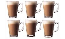 6x Latte Glasses 240ml for Tea Cappuccino Glass Tassimo Costa Coffee Cups Mugs