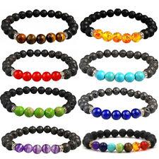 7 Chakra Bracelet Lava Stone Healing Beads Jewellery Mala Reiki Anxiety 8mm