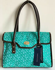 NEW! TOMMY HILFIGER SIGNATURE LOGO GREEN FLAP SATCHEL TOP HANDLE BAG $79 SALE