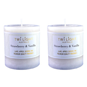 2x Scented Pillar Candle Strawberry & Vanilla Cream White Candles 6.8x7.5cm