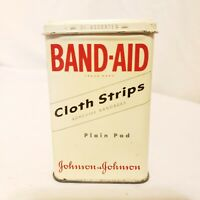 Vtg 1940's Band Aid Cloth Strips Tin Can Medical First Aid, Bandages Hinge Lid