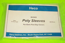 EUROPEAN FIRST DAY COVER POLY SLEEVES, HECO SAFE-T #US403, PKG 100, 3 MIL THICK