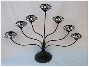 Home and Garden Décor Metal Candle Holder ( 7 heads ) with Acrylic Glass Beads