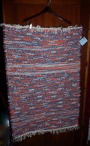 "Handmade American 28 x 44"" 100% Cotton Rag Rug Red White Blue"