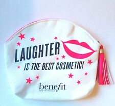 "Benefit Cosmetic Makeup Travel Bag - Pink /White ""LAUGHTER IS THE BEST COSMETIC"""