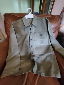 Original Named Ww2 USMC HBT Utility Jacket/Shirt