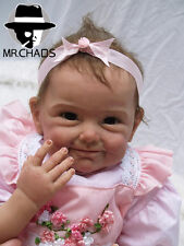 22''Reborn Baby Doll Realistic Hair Rooted Lifelike Soft Silicone Newborn Baby#