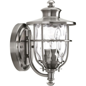 Beacon Collection 1-Light Stainless Steel 10.2 in. Outdoor Wall Lantern Sconce
