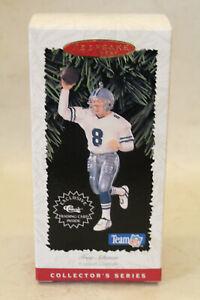 Troy Aikman Hallmark Keepsake Ornament 1996 Dallas Cowboys NFL w/ Trading Card