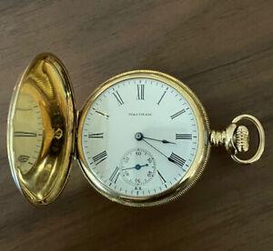 Waltham 14K Gold Pocket Watch -Full Hunter No Mono, Runs Size 6 S