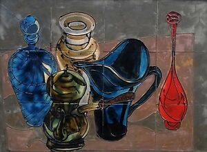 1960's Mid Century Modernist Painted Still Life Tile Art Signed Bond