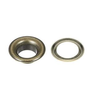 100 Set 10mm Hole Copper Grommets Eyelets Bronze Tone for Fabric Leather Curtain