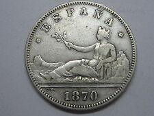 1870 DEM * 18- 74 REPUBLICA / REPUBLIC , 2 DOS PESETAS SPANISH SPAIN COIN SILVER