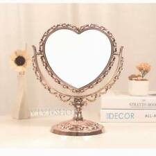 AS83h Vintage European Style Rose Gold Heart Sided 2-Sided Vanity Dresser Mirror