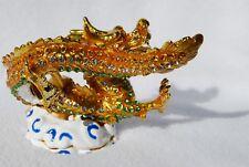 Swarovski Crystal Bejeweled Enamel Hinged Trinket Box- Medium Green/Gold Dragon