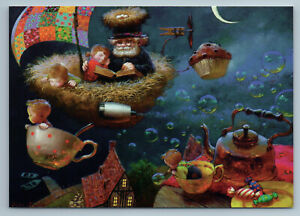 LITTLE KIDS with Elderly Man Fantasy Tale Tea Cup Kettle  Moon Journie New Postc