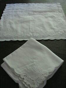 Set of 4 Pure White Linen Placemats and Napkins Belgium Cutwork Brand NEW