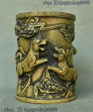 China Dynasty Palace Bronze Auspicious Wealth Tiger Lucky Brush Pot Pencil Vase