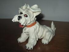 "Vintage Majolica Scottie Westie White Terrier Dog Figurine 7.5Lx3.5Wx5""T"