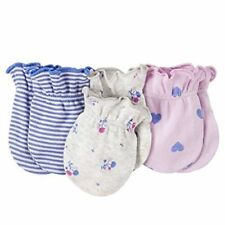 New Carter's Girls 3 Pack Baby Mittens 0-3 months NWT 100% Cotton Floral Purple
