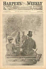 New York, Tiffany Allee From The Top Of A Coach, Vintage 1890 Antique Art Print