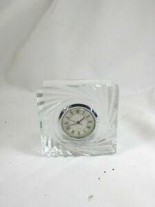 2 Rogaska Gallia Crystal Quartz Clock 52239 Vintage